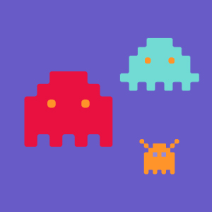 Space invader characters on a purple background