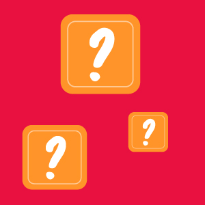 Graphic with white question marks in orange squares on a red background