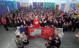 A group photo of a primary school that have taken part in fundraising activities