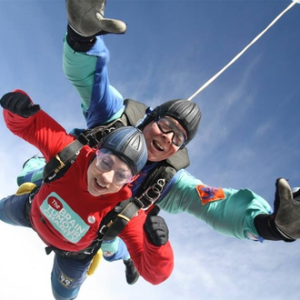A supporter taking part in a sponsored skydive.