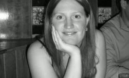 A black and white image of Sarah Kitchener Perrow looking straight at the camera