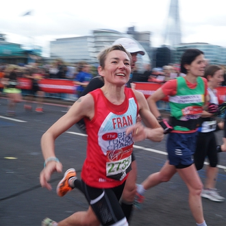 A supporter running in the London Marathon to fundraise for The Brain Tumour Charity.
