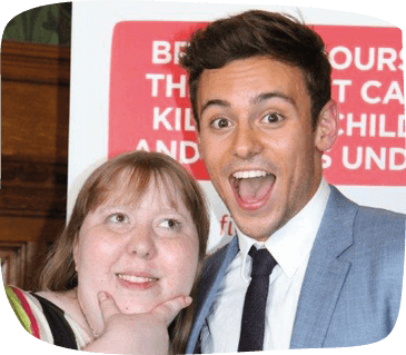 Katie photographed with Tom Daley